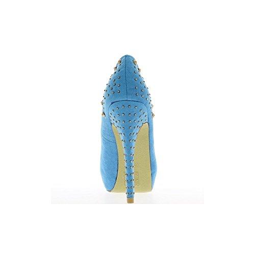 Escarpins ouverts bleus à talons de 13cm et plateau de 3,5cm