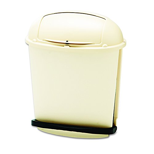 Pedal Roll Top Container - Rubbermaid Commercial Fire-Safe Pedal Rolltop Receptacle, Oval, Plastic, 14.5 Gallons, Beige (617700BG)