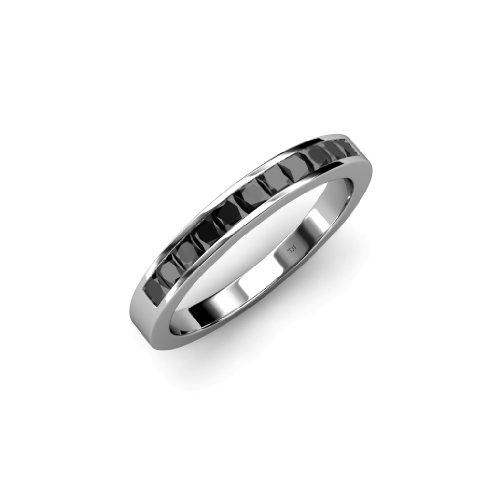 Princess Cut Diamond Eternity Ring - TriJewels Black Diamond 11 Stone Princess Cut Womens Wedding Band 0.60ctw in 14K White Gold.size 5.5