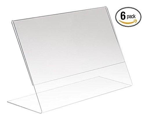 6 pack 6 x 4 clear acrylic slant back ad sign holder plastic slanted picture photo. Black Bedroom Furniture Sets. Home Design Ideas
