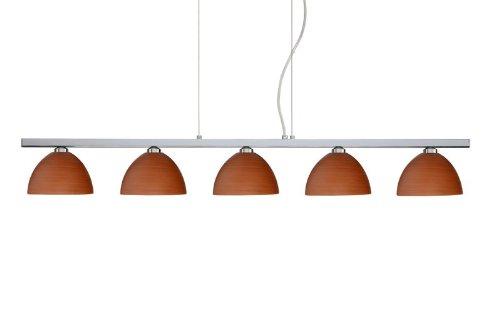 Besa Lighting 5LP-4679CH-PN 5X40W G9 Brella Pendant with Cherry Glass, Polished Nickel Finish