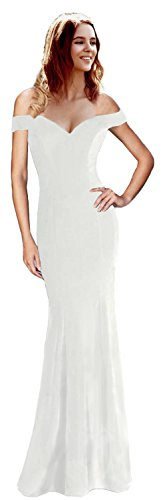 Rong store Rongstore Women's Sexy Drop Shoulder Evening Dresses Mermaid Prom Gowns White US10