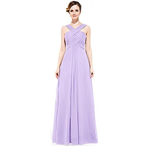 Loffy Womens Long Prom Evening Dress Gown Bridesmaid For Wedding Lilac Size 4