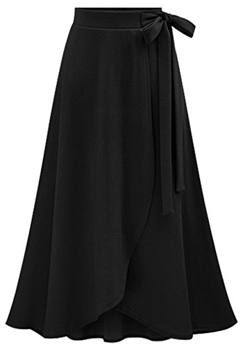 chouyatou Women's Lovely Bow-Knot Waist Stretched Flare Tulip Jersey Long Skirts (Large, Black)