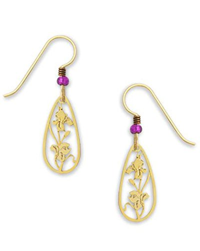 - Iris Flower Earrings Gold-tone Plate Made in the USA by Sienna Sky 1610