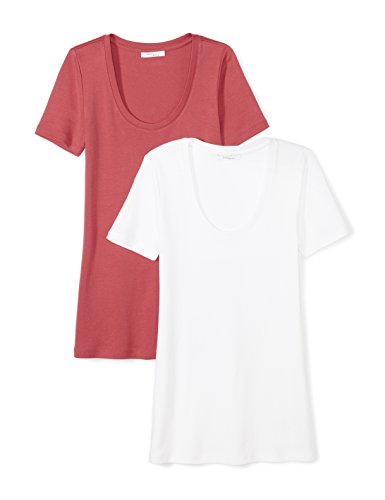 (Amazon Brand - Daily Ritual Women's Midweight 100% Supima Cotton Rib Knit Short-Sleeve Scoop Neck T-Shirt, 2-Pack, White/Cardinal Red, X-Large)