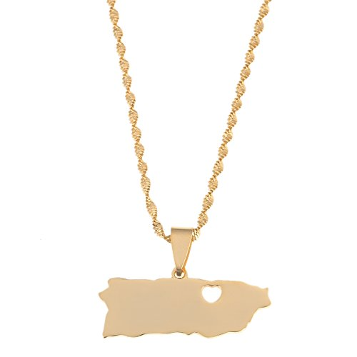 BR Gold Jewelry Stainless Steel Puerto Rico Heart Map Pendant Necklaces PR Puerto Ricans Jewelry Gifts