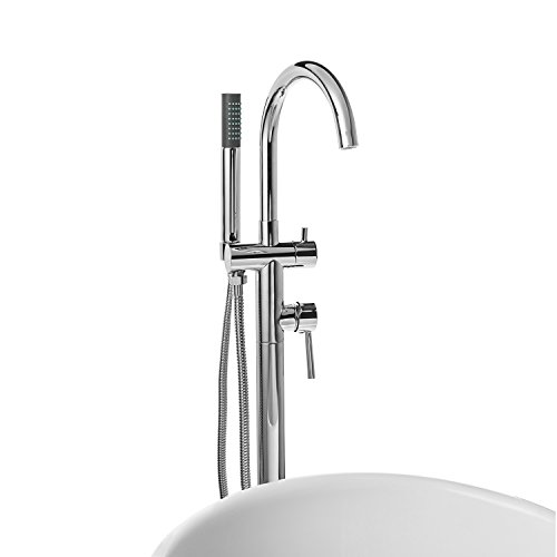 AKDY 8723 Contemporary Freestanding Floor Mount Bath Tub Filler Faucet Spout Single Handle with Handheld Shower Head, Polished Chrome high-quality