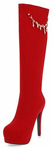 Aisun Damen Strass Troddel Plateau Trichterabsatz High Heels Langschaft Reißverschluss Stiefel Rot