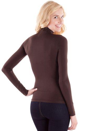 Brown Ladies Long Sleeve Turtleneck Shirt