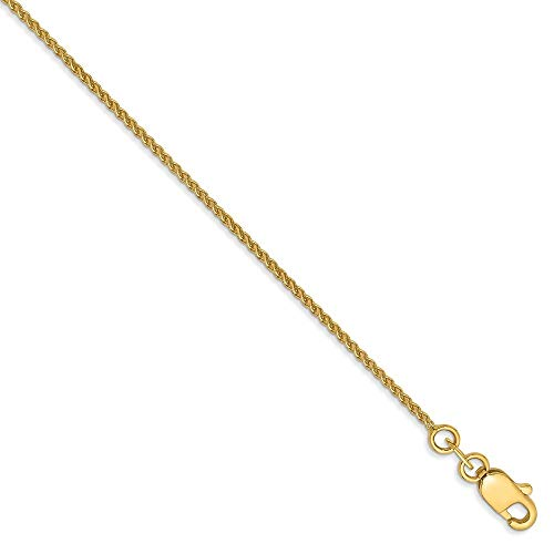 Roy Rose Jewelry 14K Yellow Gold 1.1mm Solid Polished Spiga Chain Anklet Bracelet ~ Length 10'' inches
