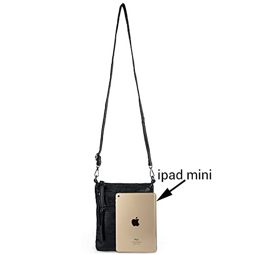 Bag 361 UTO Tablet for Multi Messenger Body Leather black Cross Cellphone Shoulder Women Bags Pockets PU Computer Casual Black Bag rwUwqWSYAx