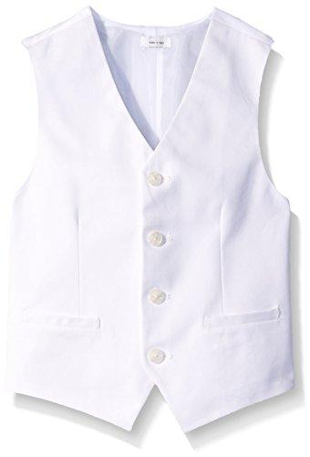 White Kids Vest - Calvin Klein Big Boys' Fancy Twill Vest, White, Medium