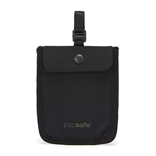 Pacsafe Coversafe S25 Hidden Undercover Travel Pouch for Women (Washable) -Stash up to 6 Credit Cards Plus Money and Key with Adjustable, Elastic Strap Suitable for All Bra Sizes, Black