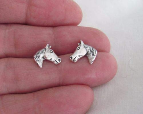 1x Piece of Sterling Silver Horse Head Hypo-Allergenic Post Stud Earrings