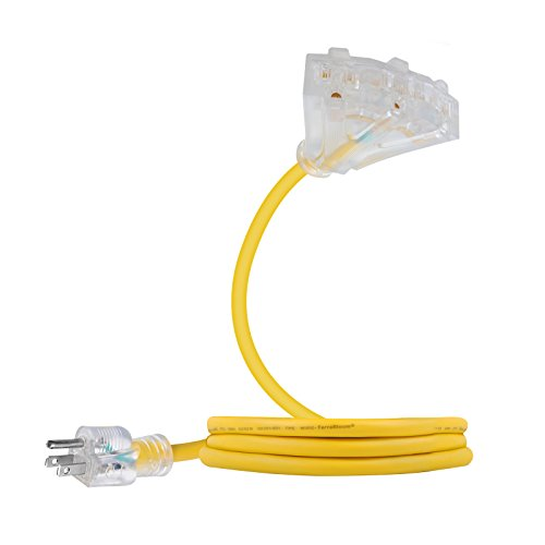 TerraBloom 2 Ft 12/3 Yellow Extension Cord With Lighted Triple Tap Outlets. Extra Flexible SJEOW TPE 125 Volts 1875 Watts Power Cord. All-Weather Heavy Duty For Outdoor, Garden and Major Appliances - Wire Three Way