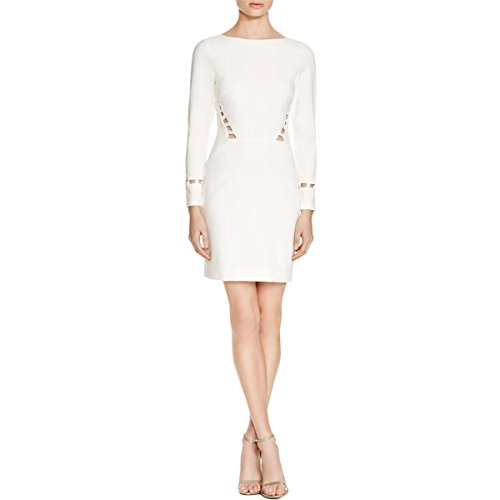 Nicole Miller Womens Lace Inset Long Sleeves Party Dress White 0