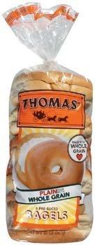 Thomas' Whole Grain Plain 6 Pre-Sliced Bagels 20 oz (Pack of -