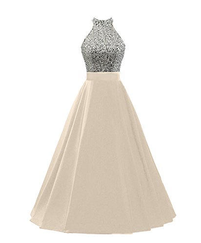 Pearldress Halter A Line Long Sequined Evening Party Gowns Beaded Prom Dress With Pockets, Champagne, (Sequined Halter Gowns)