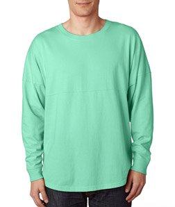 J. America Ladies Game Day Jersey Long Sleeve T-Shirt, Mint Green, - Spirit Shirts