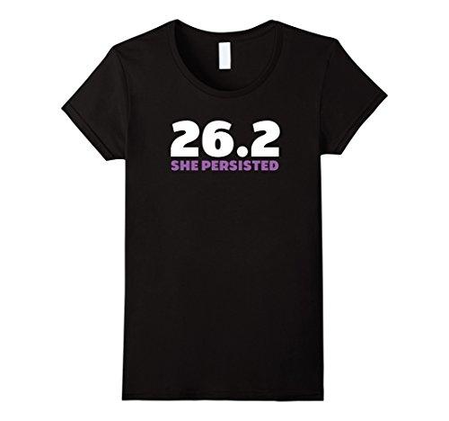 Women's Marathon 26.2 Runner She Persisted Ladies T-Shirt Medium Black (Marathon Tshirt)