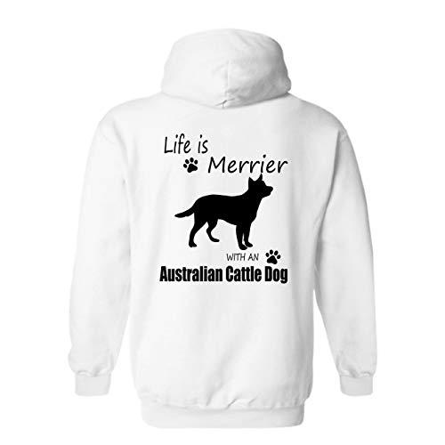 Elido Store Merrier with Australian Cattle Dog Adult Hoodie Sweatshirt for Men, Women White,L ()