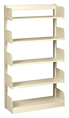 Starter Face Shelving - 36' x 10' x 66' Single Face Starter Flat Library Shelving with 5 Shelves, Ch/Putty