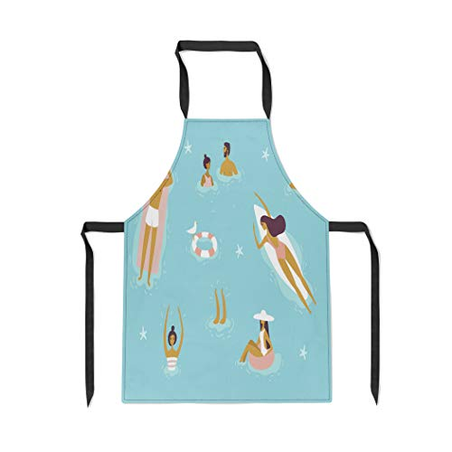 Pinbeam Apron Top View Summertime Holidays People Swimming Relax Have with Adjustable Neck for Cooking Baking ()