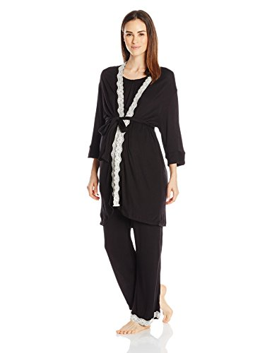 Everly Grey Women's Maternity Carina and Nursing 3 Piece Lace Trimmed Pajama Set, Black, X-Large (2 Piece Maternity Set)