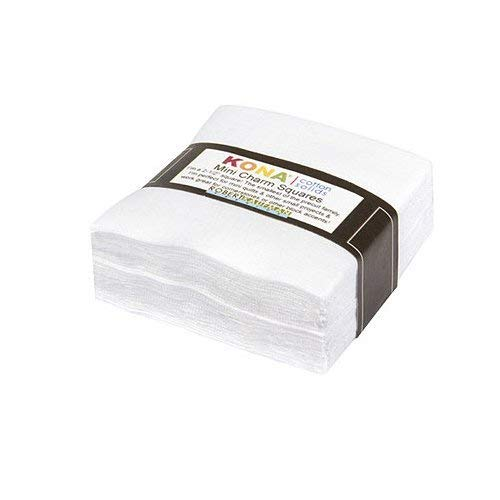White Kona Solids Mini Charm Pack; 84 100% Cotton 2.5