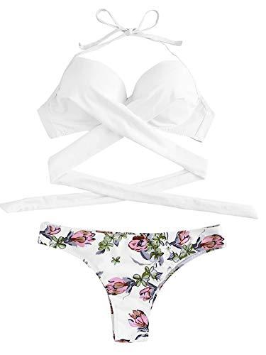 (SOLY HUX Women's Floral Halter Wrap Knotted Back Bikini Set White Floral Print S)