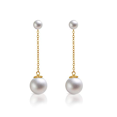 - Dokreil Double Pearl Stud Long Drop Women's Dangle Earrings 925 Sterling Silver