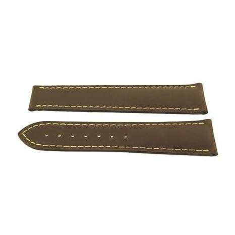 fc1da32c7283 Omega 21 mm marrón piel y con costura blanca correa 98000150: Amazon ...