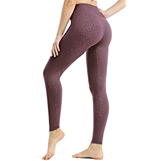 JOYSPELS Workout Leggings for Women Yoga Pants with Pockets High Waisted Spandex Exercise Running Athletic Leopard Leggings (Mauve, S)