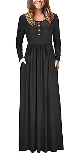 shangke Women's Long Sleeve  Maxi Dress with Pocket Only $15.59