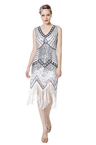 Metme Women's 1920s V Neck Beaded Fringed Gatsby Theme Flapper Dress for Prom,White+silver,L