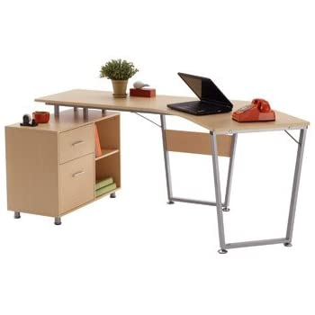 Amazon.com: OfficeMax Brent Dog-Leg Desk OM05012: Kitchen & Dining