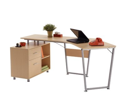 "OfficeMax Brent Dog-Leg Desk OM05012 - Light oak finish with metal frame Accessory drawer & letter/legal file drawer Overall Dimensions 75-1/2"" W x 39-1/2"" D x 29-1/2"" H - writing-desks, living-room-furniture, living-room - 31pE6npuNqL -"