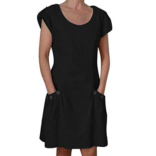 Xinantime Women's Button Pocket O-Neck Dress Cotton and Linen Loose Dress Casual Party Beach Home Service Black ()