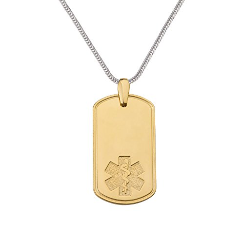 Divoti-Custom-Engraved-Deluxe-PVD-Plated-Pure-Titanium-Medical-Alert-Necklace-Dog-Tag-w24-Foxtail-Chain