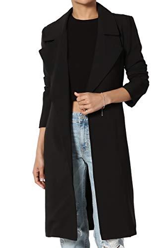 TheMogan Women's Tie Belt Elasticized Back Silky Crepe Duster Blazer Black S ()