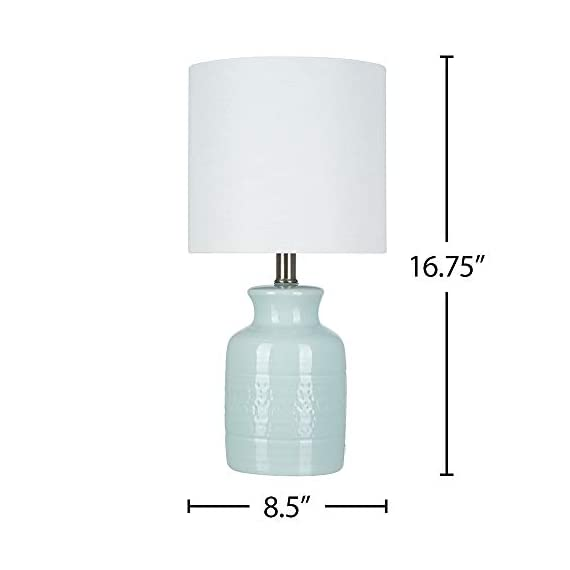 """Amazon Brand – Stone & Beam Textured Ceramic Table Lamp, Bulb Included, 16.75""""H, Blue - The base of this lovely lamp has a shape reminiscent of an old-fashioned milk can, but the reactive tonal-blue glaze is decidedly modern, creating a subtle pattern that will be slightly different on every lamp. The off-white linen drum shade diffuses light for a soft glow. 8.5""""W x 8.5""""D x 16.75""""H Textured ceramic table lamp with a tonal blue reactive glaze; brushed-nickel accents; off-white linen drum shade - lamps, bedroom-decor, bedroom - 31pEB6IdtML. SS570  -"""