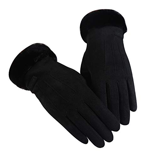 Women's Touchscreen Gloves for Autumn Winter Windproof Warm Velvet Mittens