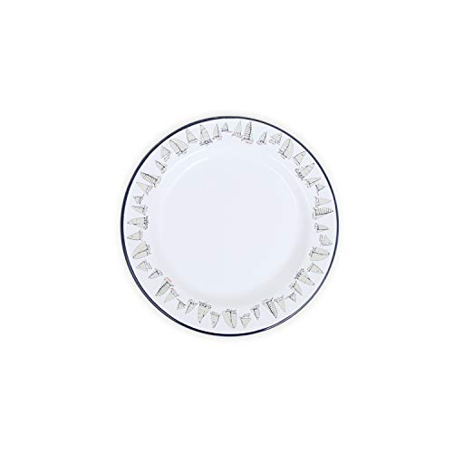 Fishs Eddy x Crow Canyon Enamelware Flat Salad/Serving Plate - 8 inch