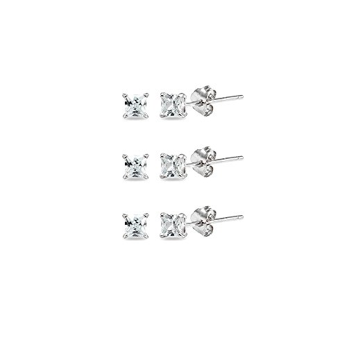 3-Pair Set Sterling Silver Cubic Zirconia Princess-Cut 3mm Square Stud (3mm Princess Stud Earrings)