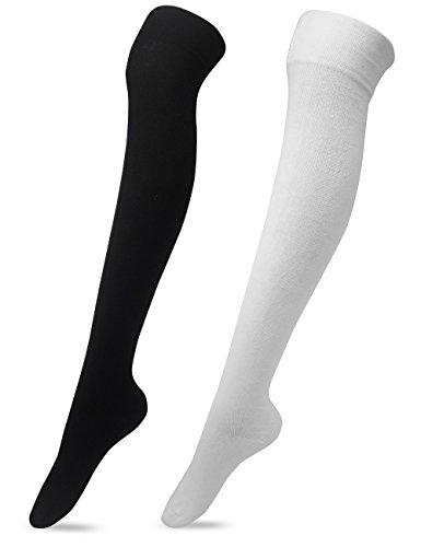 Dance Knee High Socks - Women's Over The Knee High Socks 2 Pairs,White&black,One Size
