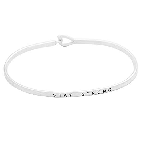 Rosemarie Collections Women's Inspirational Thin Hook Bangle Bracelet Stay Strong (Rhodium)