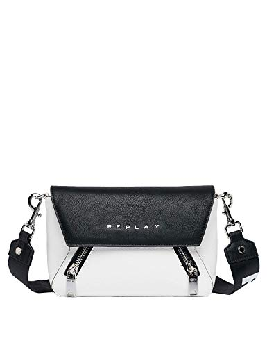 Replay Women's Shoulder Bag With Double Zip Fastening White ()