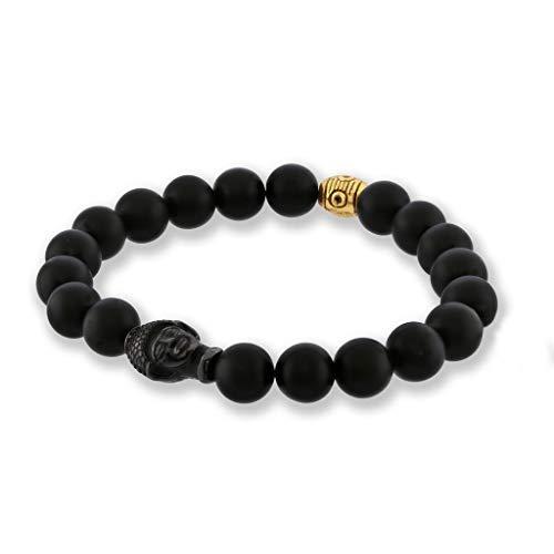 (Believe London Onyx Bracelet Gemstone Bracelet Healing Bracelet Chakra Bracelet Anxiety Crystal Natural Stone Men Women Stress Relief Reiki Yoga Diffuser Semi Precious (Matte Onyx & Buddha Head 8