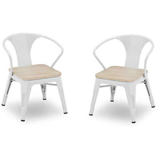 Delta Children Bistro 2-Piece Chair Set, White with Driftwood (Piece 2 Chair)